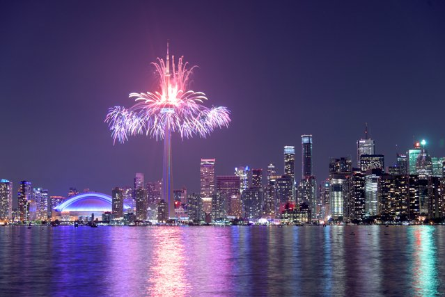 Fireworks launching form the CN Tower in Toronto